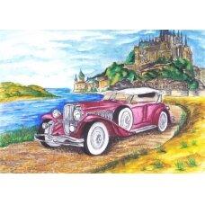 Deimantinės mozaikos rinkinys Cadillac pilies fone
