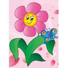 Deimantinės mozaikos rinkinys Gėlė su drugeliu