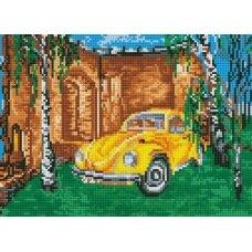 Deimantinės mozaikos rinkinys Geltonas automobilis tarp beržų