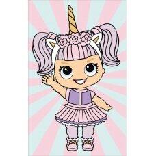 Deimantinės mozaikos rinkinys Maža mergaitė su vienaragio kostiumu