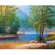 Tapybos pagal skaičius rinkinys Ežero peizažas