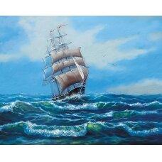 Tapybos pagal skaičius rinkinys Laivas su baltomis burėmis