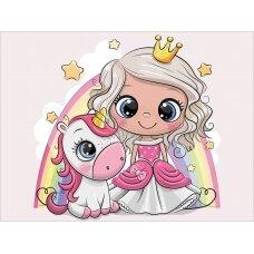 Tapybos pagal skaičius rinkinys Mažoji princesė su vienaragiu