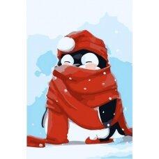 Tapybos pagal skaičius rinkinys Pingvinas su raudonu šaliku