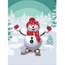 Tapybos pagal skaičius rinkinys Sniego senis slidininkas