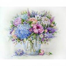 Tapybos pagal skaičius rinkinys Vasaros puokštė su mėlyna hortenzija